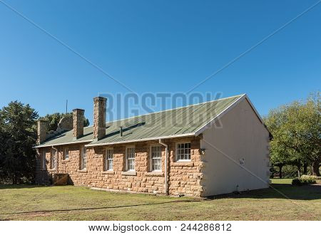 Rhodes, South Africa - March 27, 2018: The Historic Primary School At Rubicon In Rhodes In The Easte
