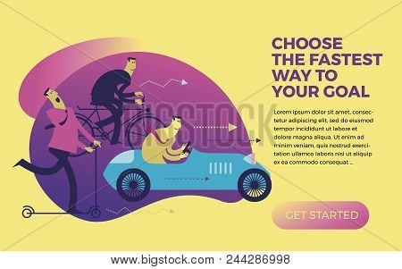 Business Infographics, Business Situations. Men Ride In Different Vehicles: Scooter, Bike, Car. Make