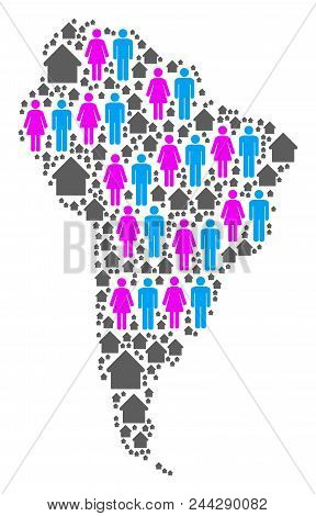 Population South America Map. Household Vector Abstraction Of South America Map Designed Of Randomiz