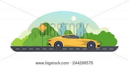 Travel By Car, Planning Summer Vacations. Trip On A Sports Car On Country Asphalt Road. Travel By Ca