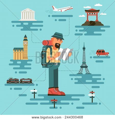 Bearded Man In Travel Clothing, Holds A Map, Surrounded By World Monuments. Cartoon Tourist In A Fla
