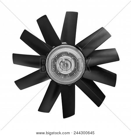 Car Cooling Fan With Plastic Blades Radiator Fan On White Background. Car Thermal Clutch. Radiator F