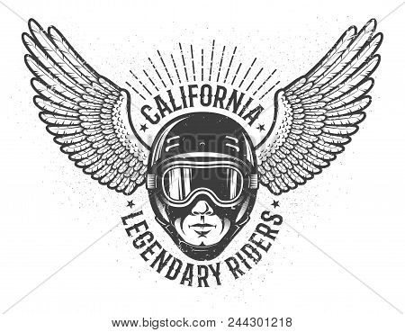 Head Of The Rider In Helmet And Sports Goggles With Wings On The Sides - Vintage Emblem. Worn Textur