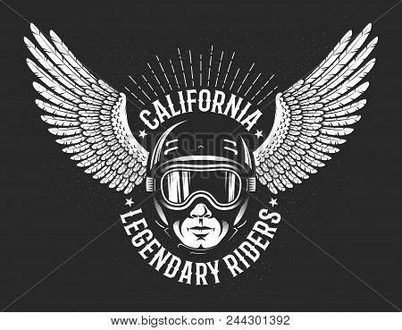 Retro Logo Of The Legendary California Riders. Head Of The Racer In Sports Helmet And Glasses And Th