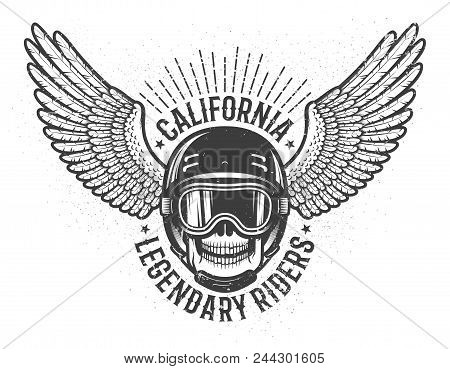 Californian Legendary Racers Retro Emblem With Skull In Helmet And Glasses And Wings Of A Bird. Worn