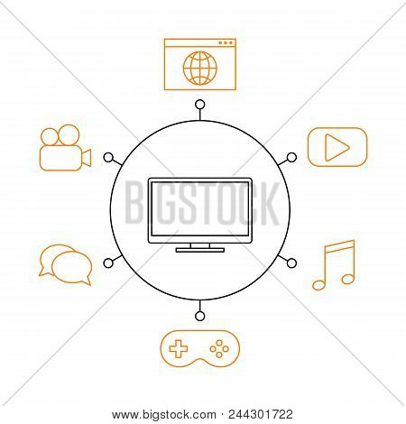 Smart Tv, Smart Home, Iot Flat Vector Illustration. Concept Of The Internet Of Things, Elements Of A