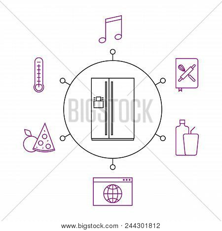 Smart Refrigerator, Smart Home, Iot Flat Vector Illustration. Concept Of The Internet Of Things, Ele