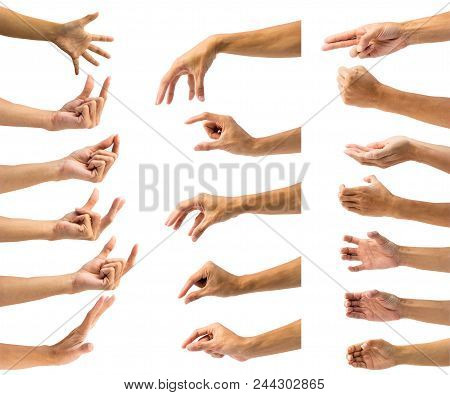 Clipping Path Of Multiple Male Hand Gesture Isolated On White Background. Isolation Of Hands Gesturi