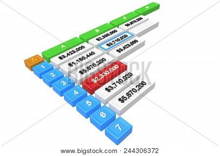 3d Spreadsheet With One Cell Selected Isolated On White. 3d Rendering
