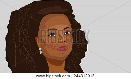 8 June, 2018: Vector Portrait Of Famous Tv Host And Successful Business Woman Oprah Winfrey.