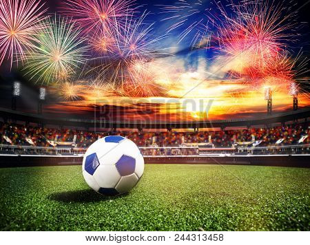 Fireworks Over Soccer Football Stadium As World Cub Championship Final Game Win Concept Background,