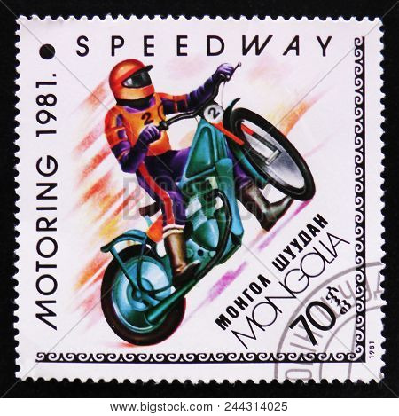 Moscow, Russia - April 2, 2017: A Post Stamp Printed In Mongolia Shows Speedway, Motoring Serie, Cir