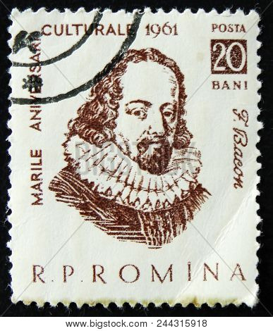 Moscow, Russia - April 2, 2017: A Post Stamp Printed In Romania Shows F. Bacon, English Philosopher,