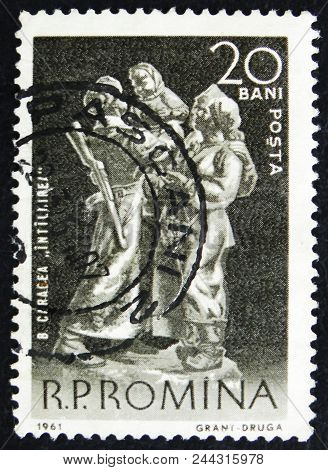 Moscow, Russia - April 2, 2017: A Post Stamp Printed In Romania Shows Meeting, By B. Caragea, Circa