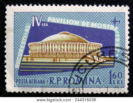 Moscow, Russia - April 2, 2017: A Post Stamp Printed In Romania Shows Iv Exhibition, Bucharest, Circ