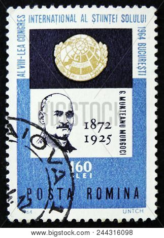 Moscow, Russia - April 2, 2017: A Post Stamp Printed In Romania Shows Munteanu Murgoci, Geologist, A