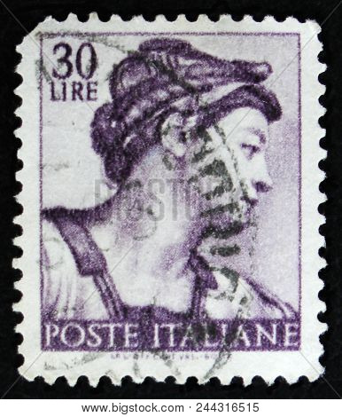 Moscow, Russia - April 2, 2017: A Post Stamp Printed In Italy Shows Sibyl Eritrea By Michelangio, Fr