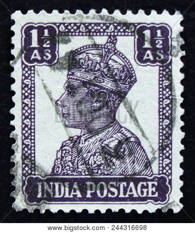 Moscow, Russia - April 2, 2017: A Post Stamp Printed In India Shows King George Vi, Circa 1942