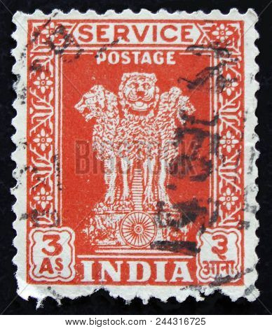 Moscow, Russia - April 2, 2017: A Post Stamp Printed In India Shows Four Indian Lions Capital Of Ash