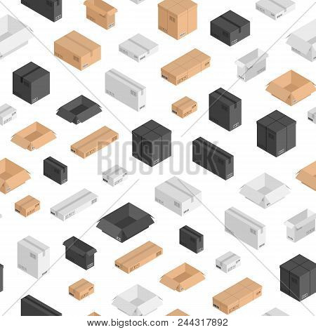 Vector Different Size Isometric Boxes Of Different Color Pattern Or Background. Illustration. Black,