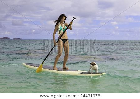 woman on her paddle board