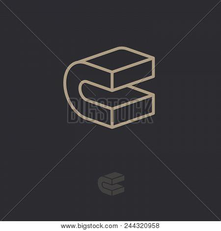 C Logo. Construction Emblem. C Monogram. 3d Linear Letter. Abstract Volume Logo. Building Or Constru