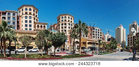 Doha, Qatar - March 3, 2018: Panoramic View Of Central District Near The Pearl Boulevard In Artifici
