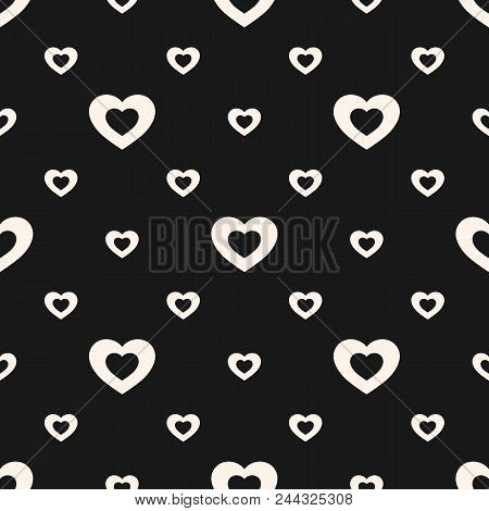 Black And White Hearts Pattern. Valentines Day Background. Love Romantic Theme. Vector Abstract Mono
