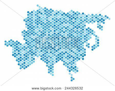 Blue Dotted Asia Map. Vector Geographic Map In Cold Blue Color Tints On A White Background. Vector C