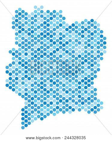 Blue Round Spot Ivory Coast Map. Vector Geographic Map In Blue Color Shades On A White Background. V