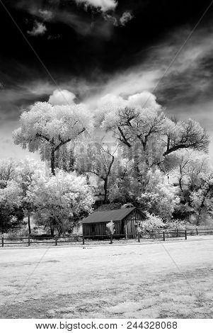 Infrared Abandoned Farm House Sedona Arizona Morning Light