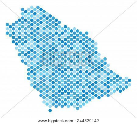 Blue Round Spot Saudi Arabia Map. Vector Geographic Map In Blue Color Variations On A White Backgrou