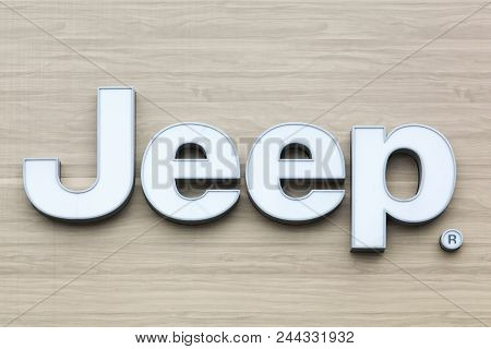 Macon, France - May 27, 2018: Jeep Logo On A Wall. Jeep Is A Brand Of American Automobiles And A Who