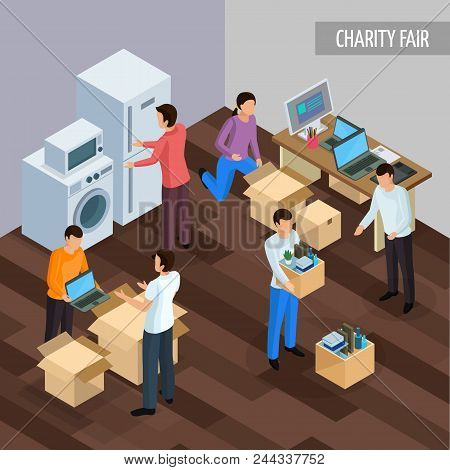 Sharing Economy Isometric Background With Human Characters Of People Giving Each Other Unnesessary G