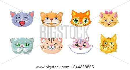 Set Of Cute Cartoon Cats Heads, Stickers, Icons, Characters, Funny, Lovely, Beautiful Home Cats, Hea