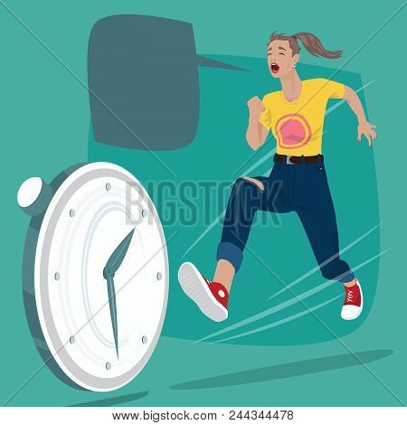 Full Body Of Girl Running And Screams. Pursuit Of Time Or Chasing Of Rolling Clock. Expressive Carto