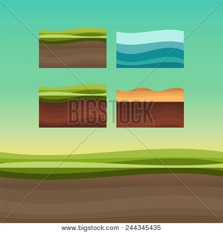 Game Ground Textures. Ui Games Ground Texture. Rock And Water Cartoon Game Texture