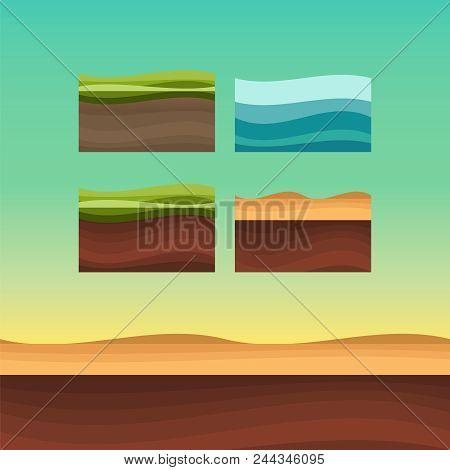 Set Of Ground Surfaces. Grass, Rocks And Water Landscape Cartoon. Ui Games Ground Texture