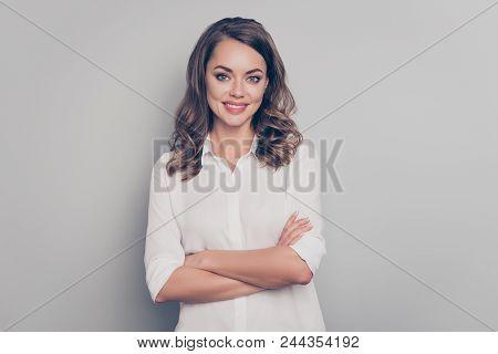 Portrait Of Nice, Cute, Trendy, Pretty, Charming, Pretty, Positive Woman With Curls, Hairdo Having H