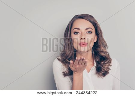 Portrait With Empty Place Copyspace Of Nice, Cute, Trendy, Pretty, Charming, Pretty, Positive, Lovel