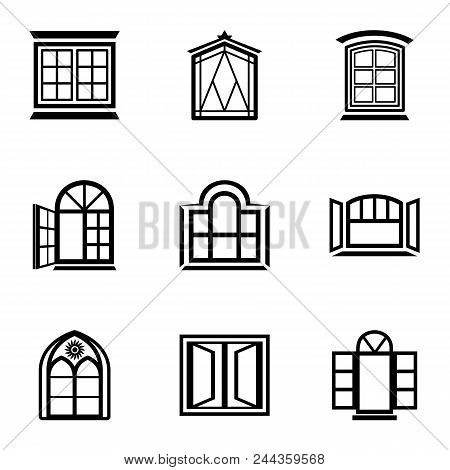 Stained Glass Icons Set. Simple Set Of 9 Stained Glass Vector Icons For Web Isolated On White Backgr