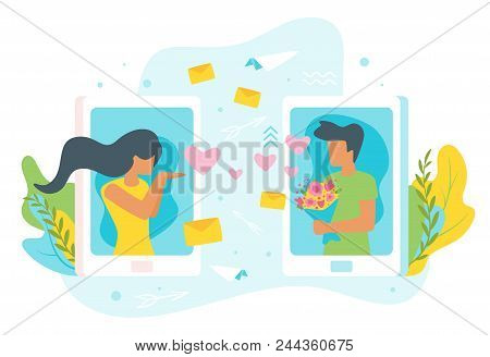 Vector Flat Style Illustration Of A Man And Woman Having Online Relationship. Minimalism Design With