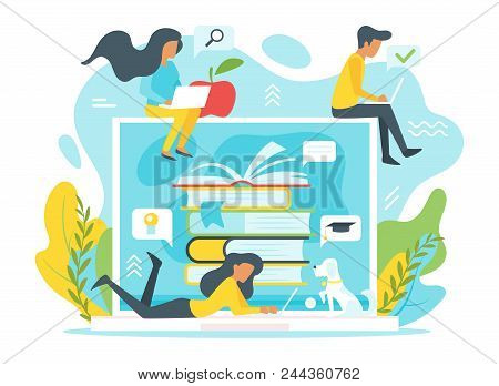 Vector Flat Style Illustration Of A Group Of People Studying Online In Front Of A Huge Laptop. Minim