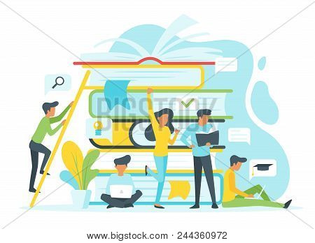 Vector Flat Style Illustration Of A Group Of People Studying Online. Background With Pile Of Books.