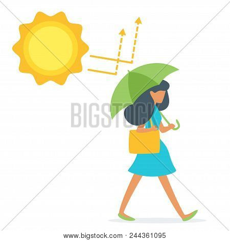 Vector Cartoon Style Illustration Of Woman With Umbrella, That Reflect Uv Sun Rays. Uva And Uvb Prot