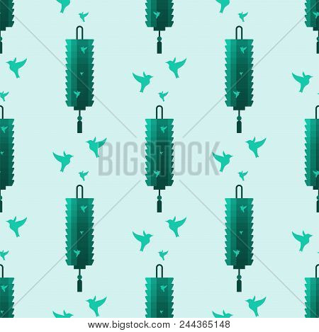 Chinese Lantern Paper Holiday Celebrate Seamless Pattern Background Celebration Traditional Festival