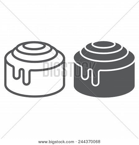 Cinnamon Bun Roll Line And Glyph Icon, Sweet And Tasty, Dessert Sign Vector Graphics, A Linear Patte