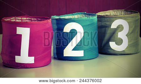 Big Jars For Toys With Numbers One Two Three
