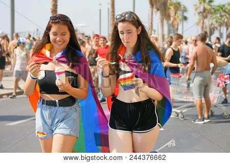 Tel Aviv Israel - 8 June 2018: The Annual Parade Lgbt. Gay And Lesbians Walking In The Gay Pride Par