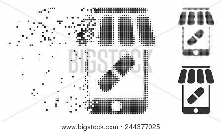 Dispersed Online Pharmacy Dotted Icon With Disintegration Effect. Halftone Dotted And Intact Solid G